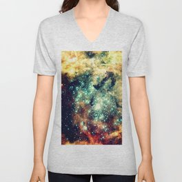 galaxy nebula stars Golden Brick Aqua Unisex V-Neck