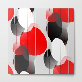 Modern Anxiety Abstract - Red, Black, Gray Metal Print