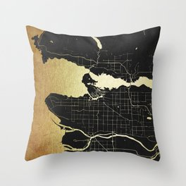 Vancouver Canada Black and Gold Map Throw Pillow
