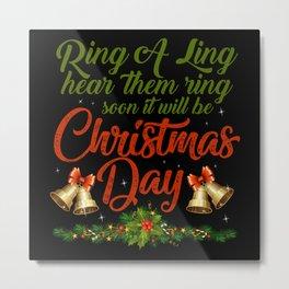 Christmas bell on the day Metal Print