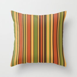 Retro Stripes - Mid Century Modern 50s 60s 70s Pattern in Green, Orange, Yellow, and Brown Throw Pillow Throw Pillow