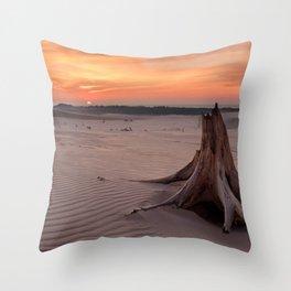 Sunset on Silver Lake Sand Dunes, Silver Lake State Park, Michigan Throw Pillow