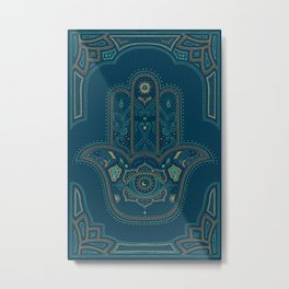 Hamsa Hand in Blue and Gold Metal Print