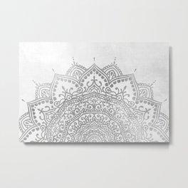 Grey Mandala Metal Print