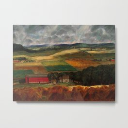 Classical Masterpiece 'Wisconsin Landscape II' by John Steuart Curry Metal Print