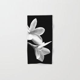 White Flowers Black Background Hand & Bath Towel