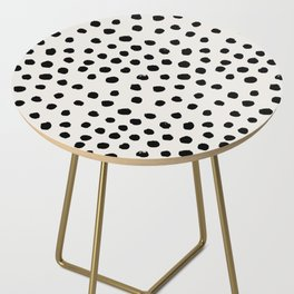Preppy brushstroke free polka dots black and white spots dots dalmation animal spots design minimal Side Table