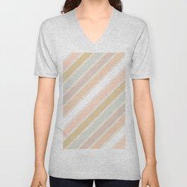 Retro Diagonal Stripes in Pastel Champagne Unisex V-Neck