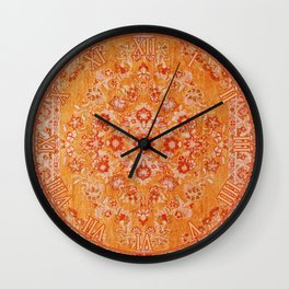 Orange Boho Oriental Vintage Traditional Moroccan Carpet style Design Wall Clock