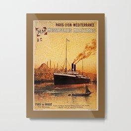 Vintage French Orient Shipping line Paris Mediterranean Metal Print