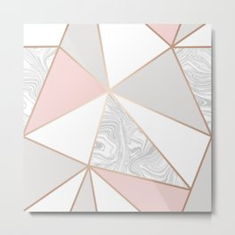 rose gold gray marble Metal Print