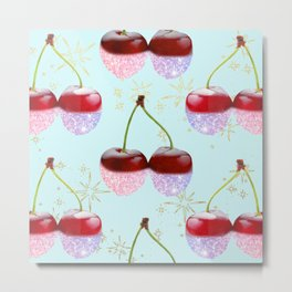 Sparkle Cherries on Teal Metal Print