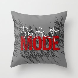 Beast Mode / Red and White Throw Pillow
