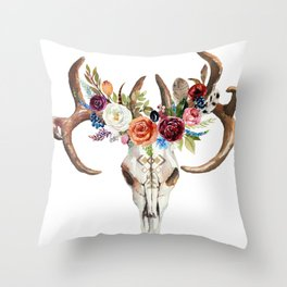 Colorful flowers & feathers dreamcatcher bull skull Throw Pillow