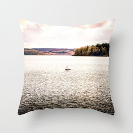 Lonely Ship Buoy Halt Weiterfahrt Verboten Möhne Reservoir Lake bright Throw Pillow
