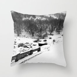 Snowing Forest And A Fishing Boat Throw Pillow