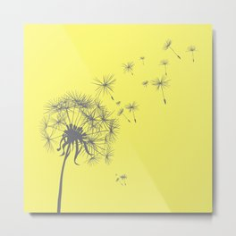 Bright Sunny Yellow + Gray Dandelion Metal Print