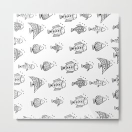 Hand drawn seamless pattern with doodle fish Metal Print