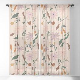 Flower Pattern Sheer Curtain
