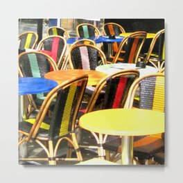 Paris Cafe Colorful Chairs and Tables Metal Print