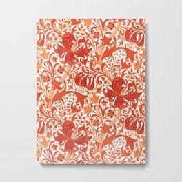 William Morris Iris and Lily, Mandarin Orange Metal Print