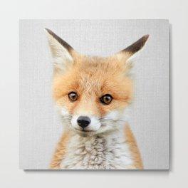 Baby Fox - Colorful Metal Print