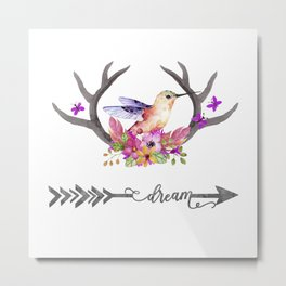Hummingbird on floral Antlers and Dream arrow Metal Print