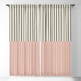 Color Block Lines XIV Vintage Pink Blackout Curtain