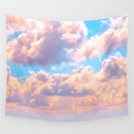 Beautiful Pink Cotton Candy Clouds Against Baby Blue Sky Fairytale Magical Sky Wall Tapestry