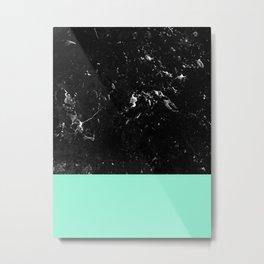 Mint Meets Black Marble #1 #decor #art #society6 Metal Print