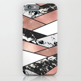 Modern Rose Gold Black Glitter Marble Geometric iPhone Case