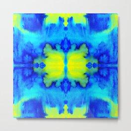 Tie Dye Psychedelic mosaic Electric Blue Neon Green Metal Print
