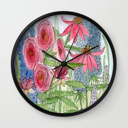 Summer Flowers Watercolor  Wall Clock