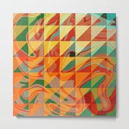 Contemporary Sunny Geometric Design Metal Print