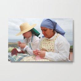 Women making handicraft Metal Print