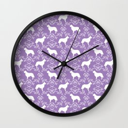 Golden Retriever floral silhouette dog silhouette lilac and white minimal basic dog lover art Wall Clock