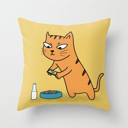Foodie Cat Throw Pillow