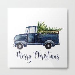 Blue Christmas Truck Metal Print