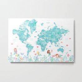 Watercolor world map with mermaids in aquamarine blue Metal Print