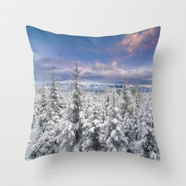 """""""Mountain light"""". Snowy forest at sunset Throw Pillow"""