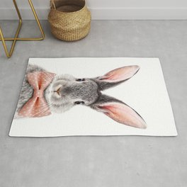 Baby Rabbit, Grey Bunny With Bow Tie, Baby Animals Art Print By Synplus Rug