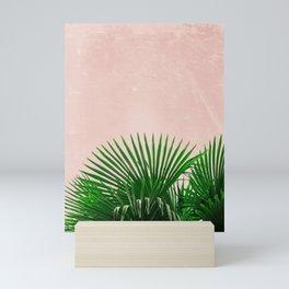 Palm Leaves On Pink Background Mini Art Print