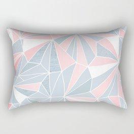 Cool blue/grey and pink geometric prism pattern Rectangular Pillow