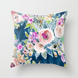 NAVY SO LUSCIOUS Colorful Watercolor Floral Throw Pillow