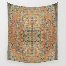 Vintage Woven Coral and Blue Kilim Wall Tapestry
