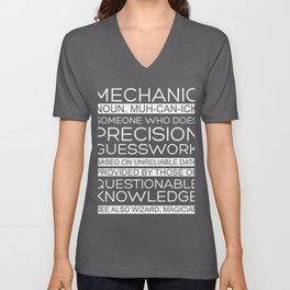 Mechanic Precision Guesswork Auto Enthusiast Car Lover Unisex V-Neck