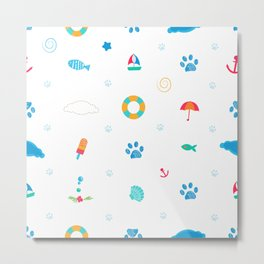 Summer time symbols with cute doodle paw prints funny summer pattern Metal Print