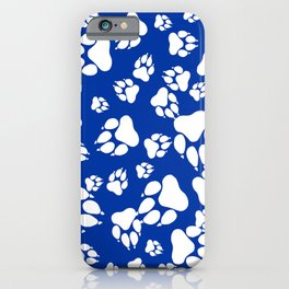 Blue and White Wildcats Paw Print Pattern Digital Design iPhone Case