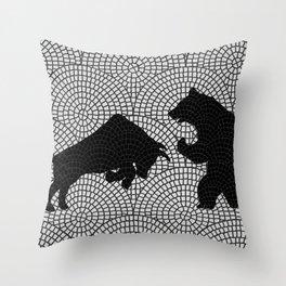 Bear and Bull v6 Throw Pillow