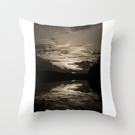 Sundown At Lake Heve 8 sepia Throw Pillow